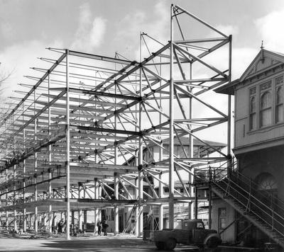 Fletcher Steel & Engineering Co Ltd: 1957 Auckland Racing Club Grand Stand, Ellerslie - under construction (steel frame)
