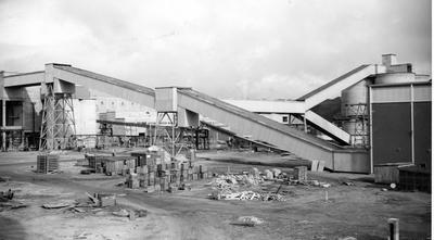 Tasman Pulp & Paper Co Ltd: 23Aug1955 Foreground - chip and bark conveyor gallery