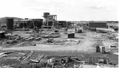 Tasman Pulp & Paper Co Ltd: 1955 (l-r) causticizing, lime reburning, and chemical storage
