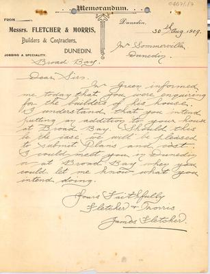 Sir James Fletcher I papers: 1909 Letters from James Fletcher to possible customers and quotations