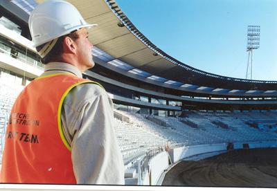 Fletcher Development & Construction Ltd, Wellington: 1999 Wellington Stadium - Gus Smith surveys the site