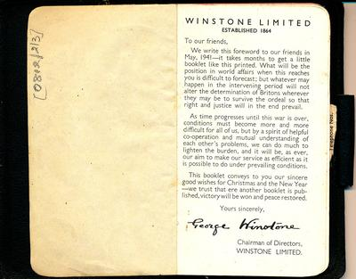 Winstone Ltd: 1942 note book; Includes Ready Reckoner Multiplication Tables, technical information on products & various other information