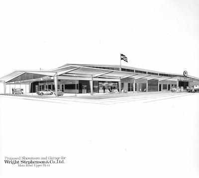 Wright Stephenson & Co Ltd: Wellington Branch - Motor Division, Upper Hutt: 1965 opening - architects drawing of premises