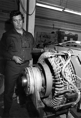 Tasman Pulp & Paper Co Ltd, Kawerau: 1982 L Meharry working in electrical repair workshop; 1982; Photograph