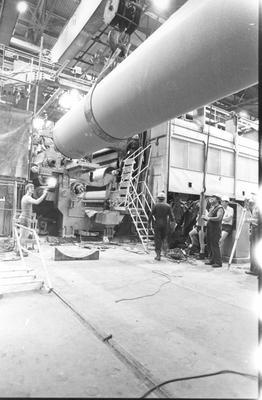 Tasman Pulp & Paper Co Ltd, Kawerau: 1987 Upgrade programme - reconditioned granite roll returns to new third press during repairs; 1987
