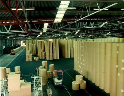 Tasman Pulp & Paper Co Ltd: 1982 inside one of newsprint warehouses at Mt Maunganui; 1982; Photograph