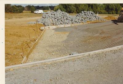 Winstone Ltd - Vibrapac Blocks Ltd - Gobi Block System: 1976 Gobi Block laid in driveway in Wiri, South Auckland