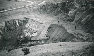 Winstone Ltd - Winstone's Hamilton Branch, Waikato: 1962 New quarry at Tauwhare - rock face before removal by explosives