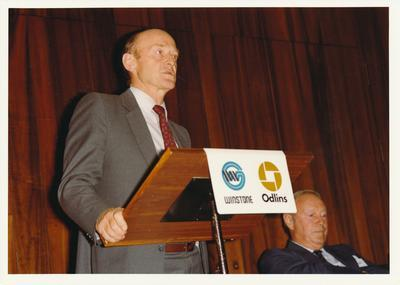 Winstone Ltd - C & A Odlin Timber & Hardware Co - operations and activities: 1985 Winstone General Manager, John Ede, addressing staff at Odlins Ltd (includes envelope of prints and proof sheets)