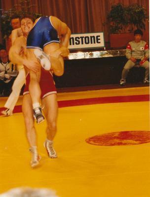Winstone Ltd - Sponsorships - sport: 1987 wrestling - New Zealand versus Korea
