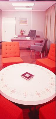 Cemac Holdings Ltd: 1977 Cemac Veneered Products Division - table in office
