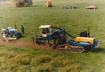 Novaflo land drainage being laid on a Massey University farm, Winstone Trading Profile publication