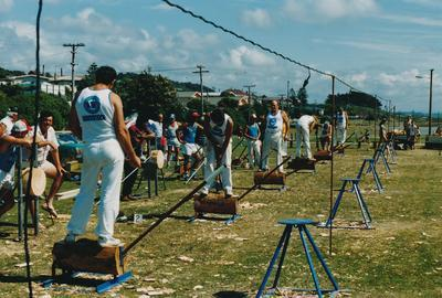 The six back markers at the 300 mmunderhand final at the Greymouth Axemans Club Annual Carnival, Winstone Trading Profile publication