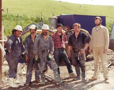 Fletcher Development & Construction Ltd: 1985 Ohai Coal Mine - some of FD&C team who built the ventilation shaft