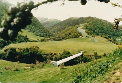 Hume Industries (NZ) Ltd - Hume Pipe Co: 1991 large diameter pipe over river/stream