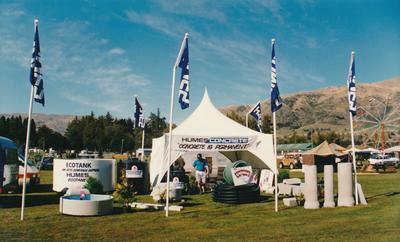 Hume Industries (NZ) Ltd - Hume Pipe Co: 1991 Humes Concrete display tent at unidentified show