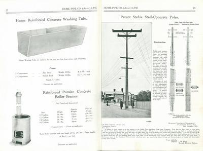 Hume Industries (NZ) Ltd - Hume Pipe Co: 2013 Humes Pipeline Systems Ltd - 1927 Power Pole in product catalogue