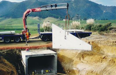 Hume Industries (NZ) Ltd - Hume Pipe Co: 2006 Humes Pipeline Systems Ltd - new underpass for stock using square culverts