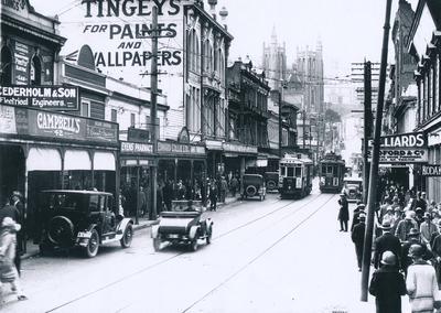 Winstone Ltd - R & E Tingey & Co Ltd: 1930 premises, Manners St, Wellington (showing signage)