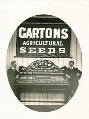 Wright, Stephenson & Co Ltd: 1920 Gartons seeds (display with 2 men)