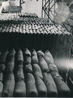 Wright, Stephenson & Co Ltd: 1952 Inside grain store at Tinwald, near Ashburton, South Canterbury