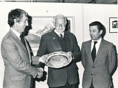 Wrightson NMA Ltd: 1979 (l-r) A W Lockead, Methuen, receiving prize for best Barley of Hassan variety from Bob Mather, Marketing Manager Grain & Seed Division, Les Gee Wrightson NMA Ashburton Manager