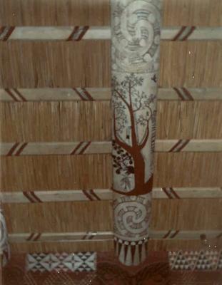 Fletcher Timber Co Ltd - Ruatahuna Mill, Bay of Plenty Region: 1970 Te Whai-a-te-motu painted rafter beams, Ruatahuna