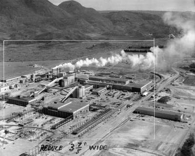 Tasman Pulp & Paper Co Ltd: 1955 Aerial view Tasman Pulp & Paper Kawerau