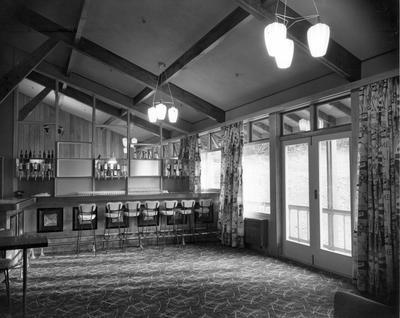 Fletcher Construction Co Ltd - The Hermitage, Aoraki/Mt Cook: 1958 bar lounge of new hotel