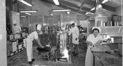 Fletcher Construction Co Ltd - The Hermitage, Aoraki/Mt Cook: 1958 kitchen in new hotel