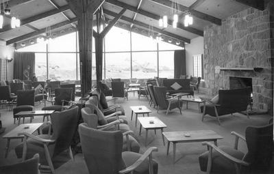 Fletcher Construction Co Ltd - The Hermitage, Aoraki/Mt Cook: 1958 lounge of new hotel
