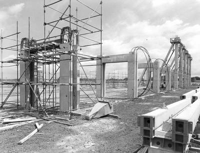 Fletcher Construction Co Ltd - Hangar and Workshop for TEAL, Auckland Airport, Mangere: 1964 under construction