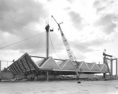 Fletcher Construction Co Ltd - Hangar and Workshop for TEAL, Auckland Airport, Mangere: 1964 under construction (seven items a-g)