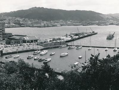 Fletcher Construction Co Ltd - Clyde Quay Wharf Extensions / Overseas Passenger Terminal, Oriental Bay, Wellington: 1964 panoramic view of construction work & harbour