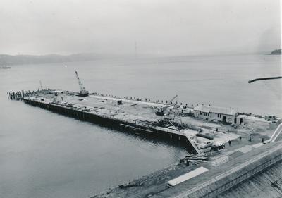 Fletcher Construction Co Ltd - Clyde Quay Wharf Extensions / Overseas Passenger Terminal, Oriental Bay, Wellington: 1963 Long view of construction job