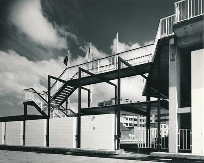 Fletcher Construction Co Ltd - Clyde Quay Wharf Extensions / Overseas Passenger Terminal, Oriental Bay, Wellington: 1964 view of completed stairway outside building