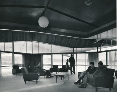 Fletcher Construction Co Ltd - Clyde Quay Wharf Extensions / Overseas Passenger Terminal, Oriental Bay, Wellington: 1964 inside passenger lounge in building