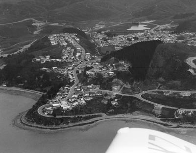 Fletcher Construction Co Ltd - Residential housing developments: 1972 Whitby, Porirua - Aerial views includes roads and streets