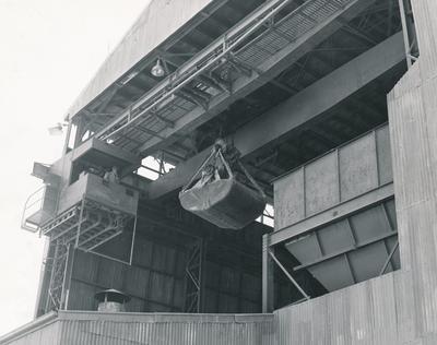 Fletcher Construction Co Ltd - Waitomo Portland Cement Co, Te Kuiti, King Country: 1957 the gantry bay with core hopper