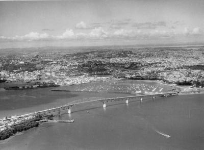Aerial view of Auckland Harbour Bridge