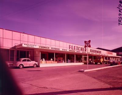 Fletcher Holdings Ltd: 1962 Fletcher Hardware's Wellington premises on the Hutt Rd, Kaiwharawhara