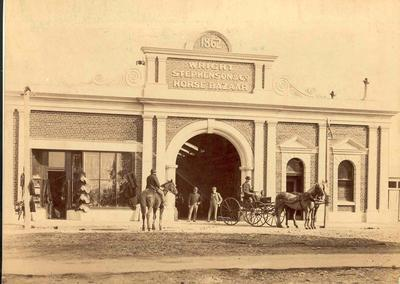 Wright Stephenson & Co Ltd - Gore Branch, Southland: 1891 The horse bazaar & sadler's shop at the company's first branch at Gore