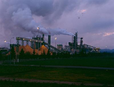 Tasman Pulp & Paper Co Ltd, Kawerau: 1990 the mill at night