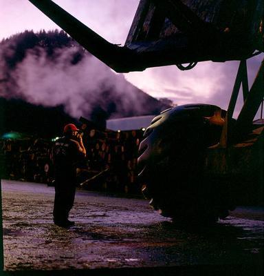 "Tasman Pulp & Paper Co Ltd, Kawerau: 1994 giant ""Wagner"" log stacker carts a load of logs, weighing up to 44 tonnes, onto the log decks for slashing, debarking and chipping; 1994; Photograph"