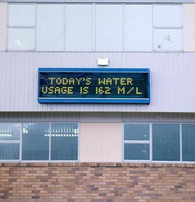 "Tasman Pulp & Paper Co Ltd, Kawerau: 1994 Electronic sign showing ""Today's Water Usage Is..."""