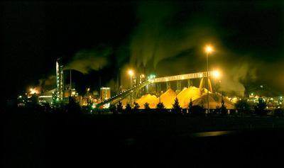 Tasman Pulp & Paper Co Ltd, Kawerau: 1989 mill at night