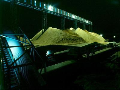 Tasman Pulp & Paper Co Ltd, Kawerau: 1989 wood chips at night; 1989; Photograph