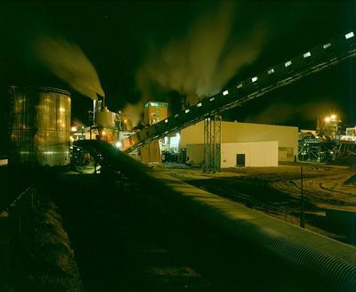 Tasman Pulp & Paper Co Ltd, Kawerau: 1989 the new wood flow handling system at night; 1989; Photograph