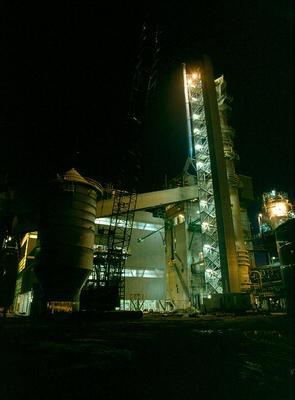Tasman Pulp & Paper Co Ltd, Kawerau: 1989 the new continuous digester at night
