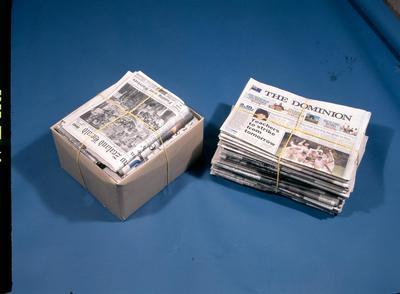 Tasman Pulp & Paper Co Ltd, 1995 Kawerau: Bundles of paper ready for recycling